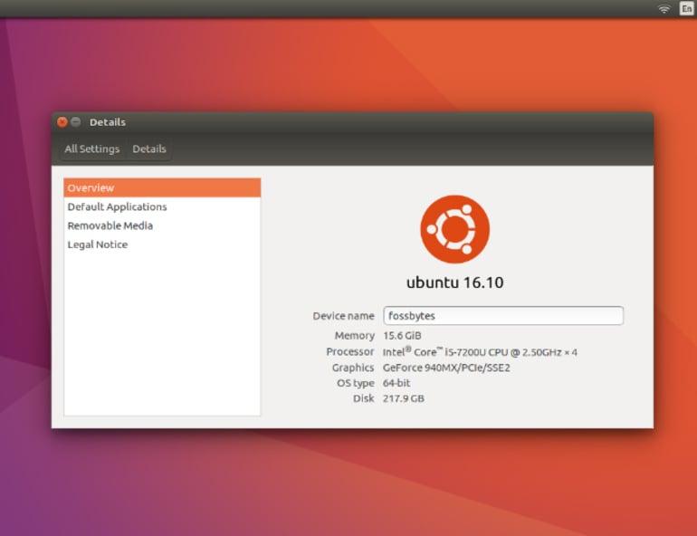 Hero image ubuntu 1610 version