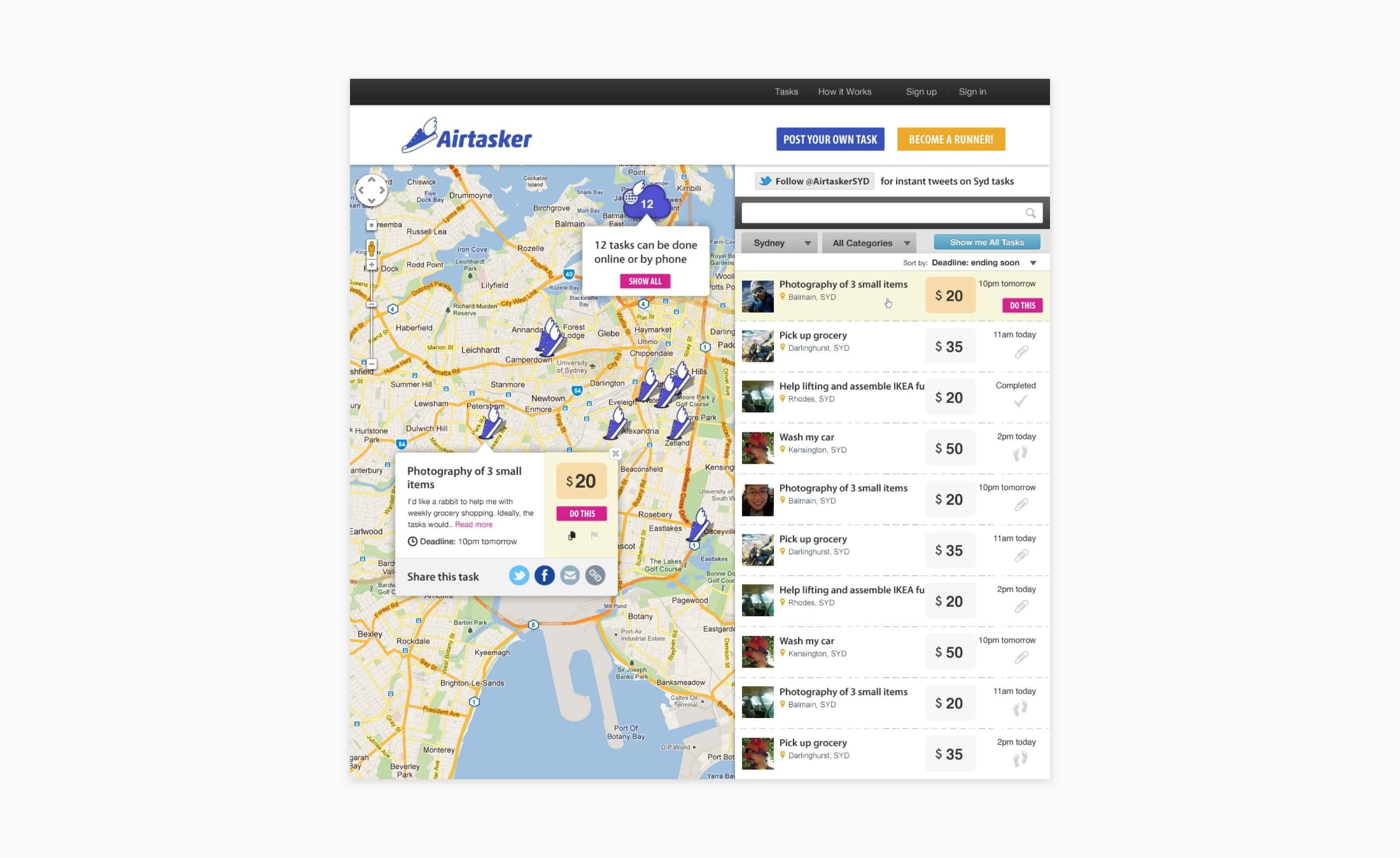 airtasker web browse tasks